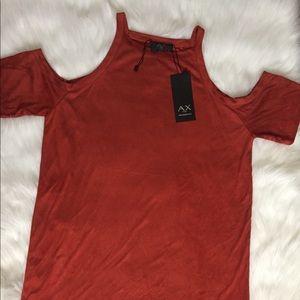 Burnt orange dress w/cut-off shoulders